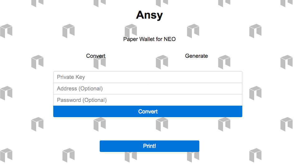 Ansy - Minimal NEO Paper Wallet