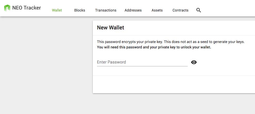New Wallet - NEO Tracker Blockchain Explorer Wallet
