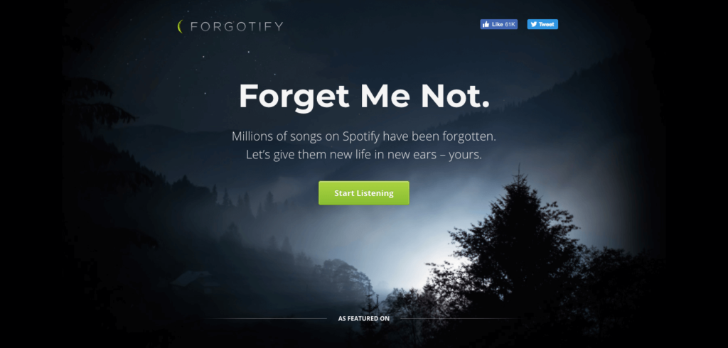 forgotify - coolest websites on the internet