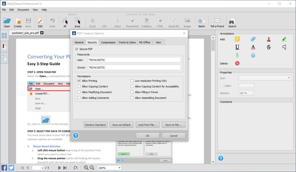 Secure-PDF-creation