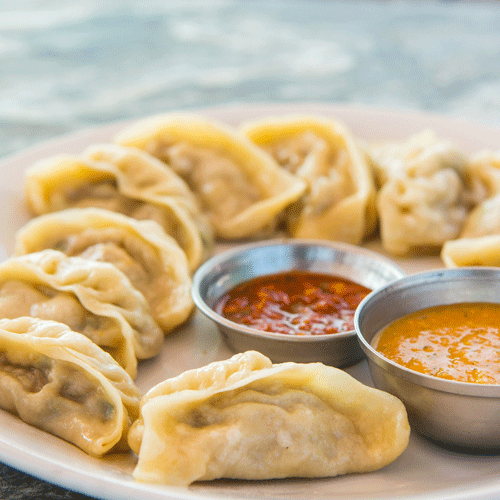 Momos and Baked Rossogollas