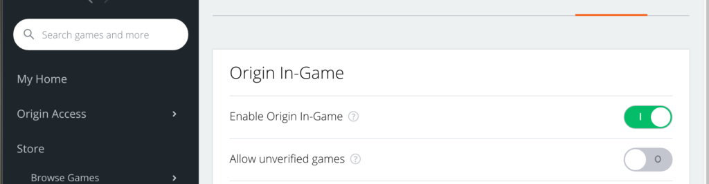 enable origin in-game