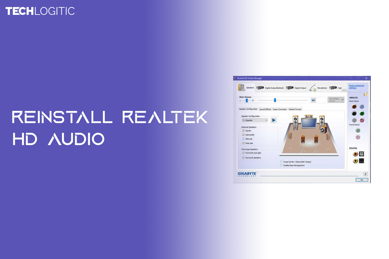 Reinstall Realtek HD audio