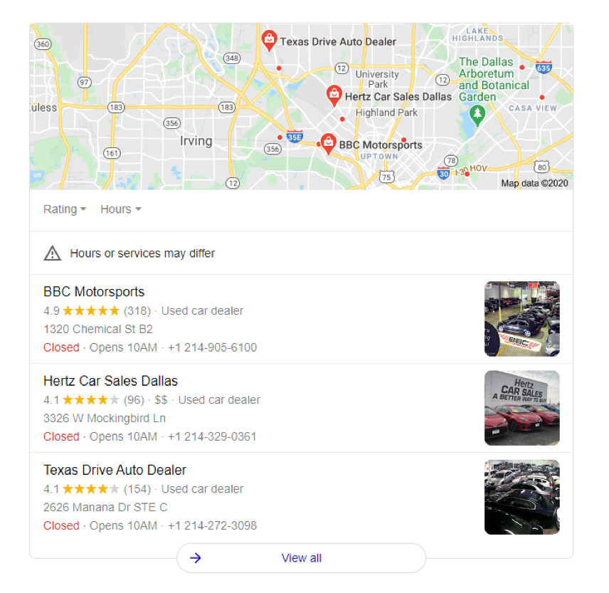 Google 3-Pack of auto dealers in Dallas