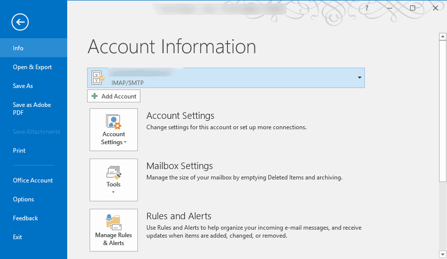 account settings to the mailing tab