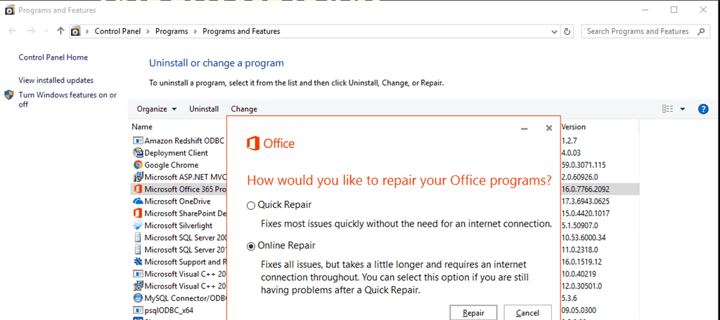 click on repair