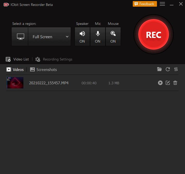 Videos and screenshots list