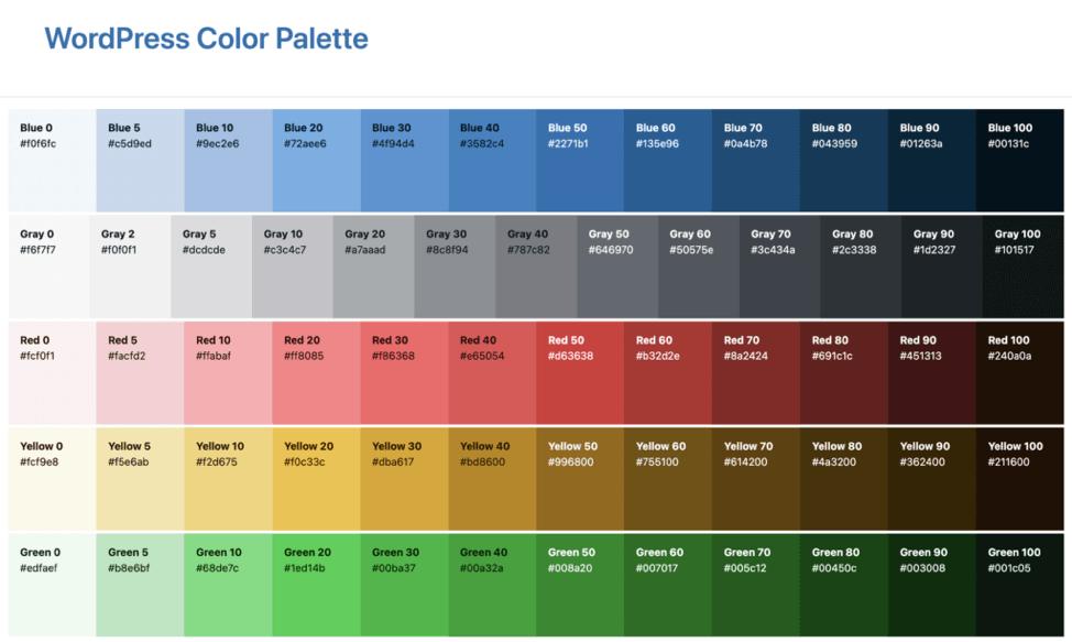 13. Admin colour palette