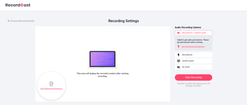 How is this platform used to record the screen?