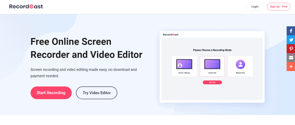 RecordCast, the most powerful free screen recorder