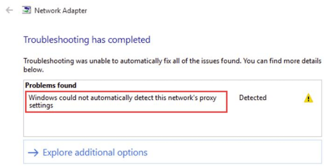 Windows could not detect proxy settings