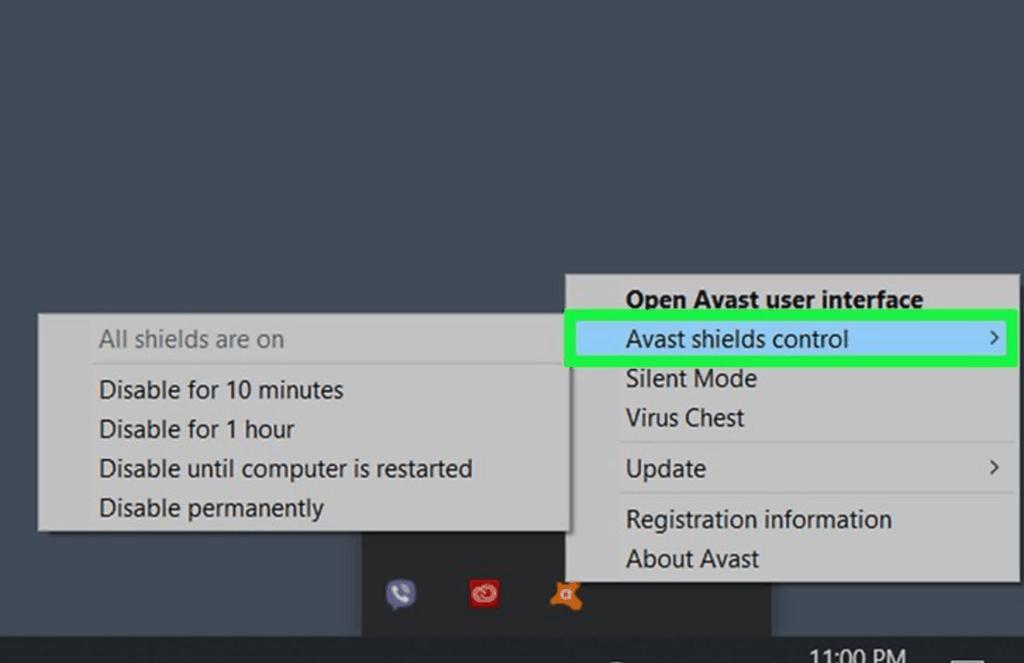 Avast Antivirus icon on the Windows taskbar