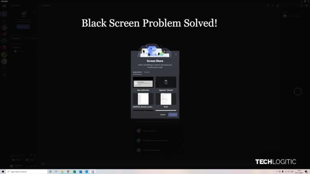 discord screen share black screen