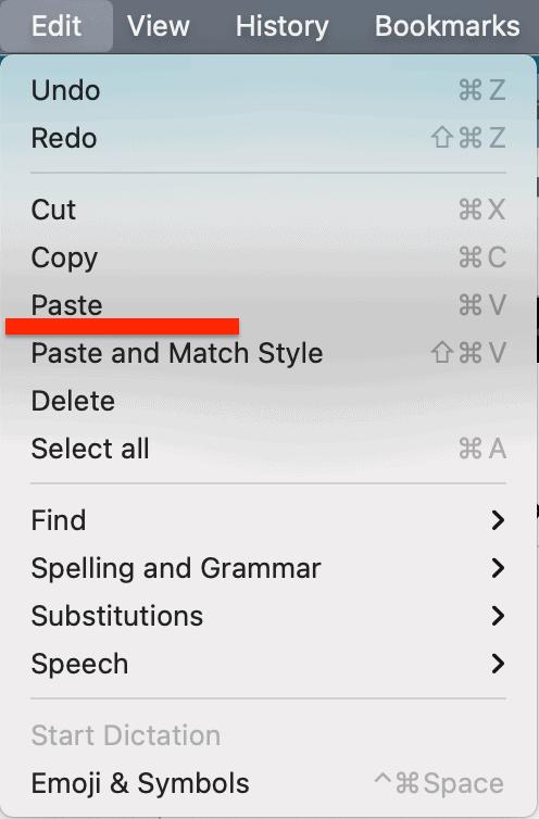 edit menu paste
