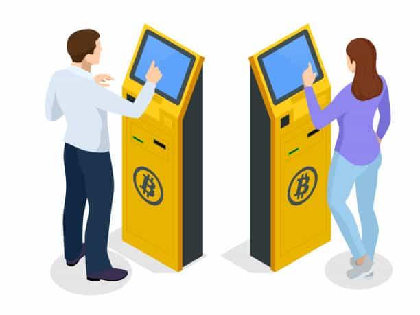 people using Bitcoin machine animated image