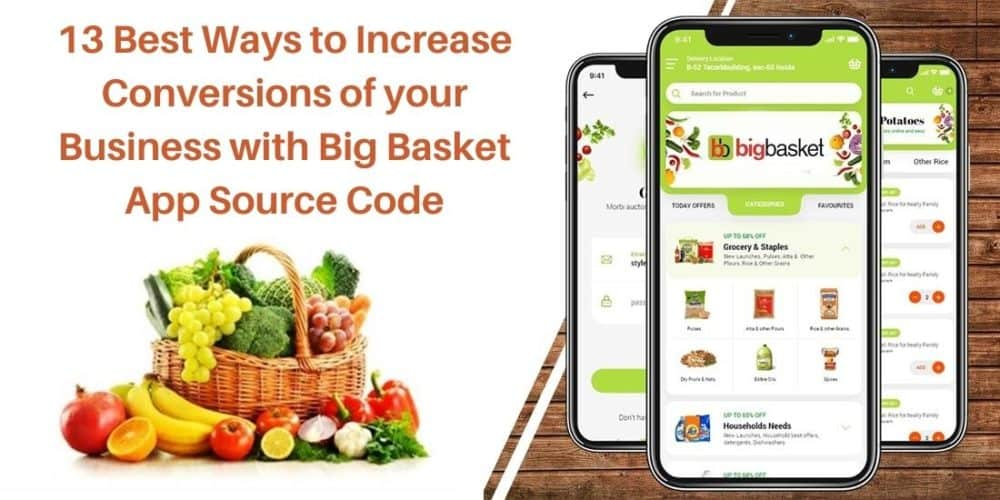 Big Basket is the most valuable player in the Indian Grocery industry. It is delivering online groceries to the doorstep of many families in more than 30 cities. Last year during the lockdown Big Basket's yearly revenue grew 36%, from 2,802.6 Crore rupees in 2019 to 3818.2 Crore rupees in 2020. Now when you have witnessed that Online Grocery Shopping is a booming industry, you also want to be a part of it and provide online service to your customers and improve your business conversions. And for that, You'll also be needing a mobile app like Big Basket to provide online services. That is where the Big Basket Clone App Development Company will help you achieve your business goals. Now since you are building your clone application with Big Basket App Source Code, here are the 13 best possible ways you can increase your business conversions User-Friendly Product Sorting  If you are providing a wide range of grocery items, then you must implement functions that will classify and sort the items based on their category. By doing this your online application will be less cumbersome to navigate and also deliver a positive user experience. And this will eventually help your business grow. Shopping Cart Feature:- This feature is a must-have when you are building an e-commerce app. This helps the customer in many ways. They can add items to the cart when they are buying things in bulk or they just can save the item there so that he/she can easily buy the item the next time he/she visits. Cart feature should also show the total amount of the items added to the cart so that if the customer thinks he/she is out of budget can easily remove 1 or 2 items as per the budget. With Big Basket Clone App Development, you can add this feature very easily. Secured in-app payments Feature:- Since your app is providing online grocery services, it must have an in-app payment method that is both easy and secure. And it should also show different payment options like Phonepe/Gpay/AmazonPay or De